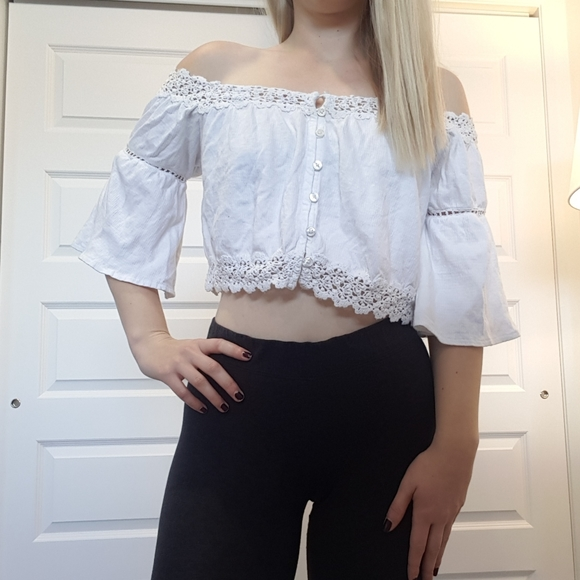 Topshop Tops - Super cute girly white off the shoulder top